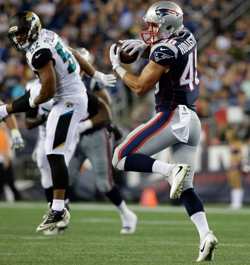 Tight end Jacob Hollister – a rookie whose twin brother is also seeking a spot with the Patriots – caught seven passes for 116 yards in the preseason opener Thursday night.