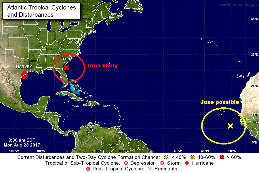 Two additional named storms are possible in the coming week.