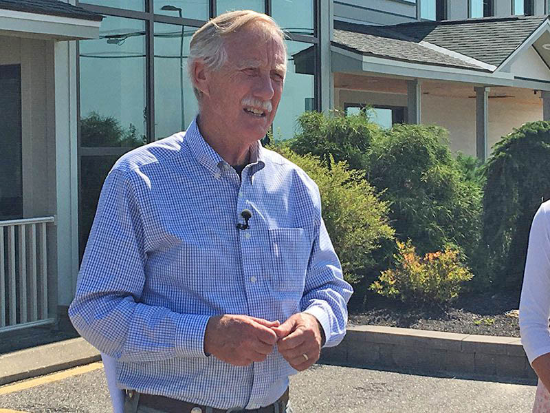U.S. Sen. Angus King, I-Maine, who was in Auburn on Wednesday to announce his sponsorship of the Family and Medical Insurance Leave Act, said he's concerned that President Trump's recent fiery rhetoric toward North Korea could put thousands of lives at risk.
