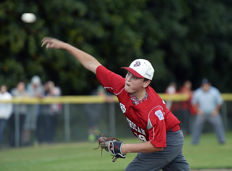 Nolan Hobbs of South Portland, shown pitching against Lewiston in the  state championship game in July, hit a three-run homer Thursday at the New England Little League baseball regional in Bristol, Conn.