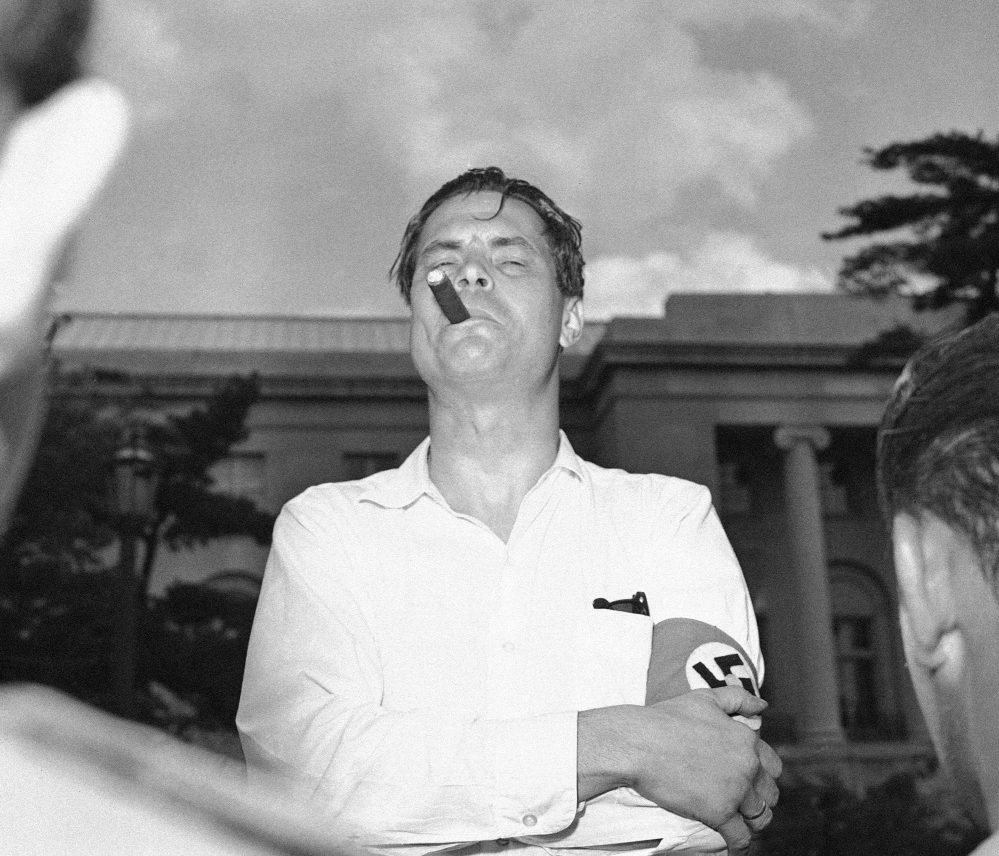 George Lincoln Rockwell, leader of the American Nazi Party, appears at a rally in downtown Washington on July 4, 1960. Rockwell had deep roots in Maine.