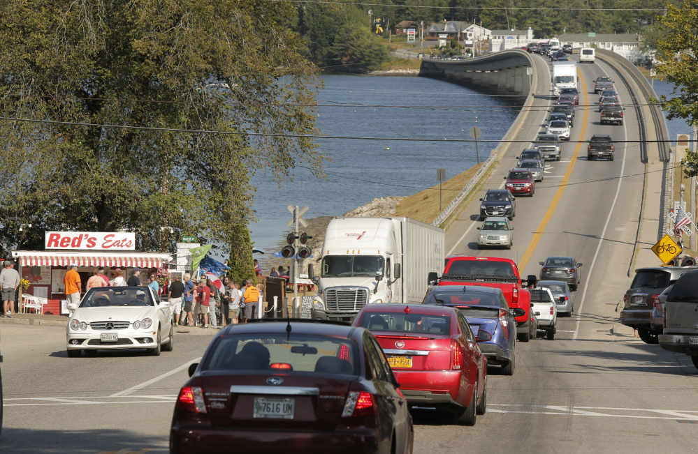 Traffic backs up on Route 1 in Wiscasset at the end of July. The state's plan to ease congestion by widening a stretch of the highway is now the subject of a lawsuit by the town.