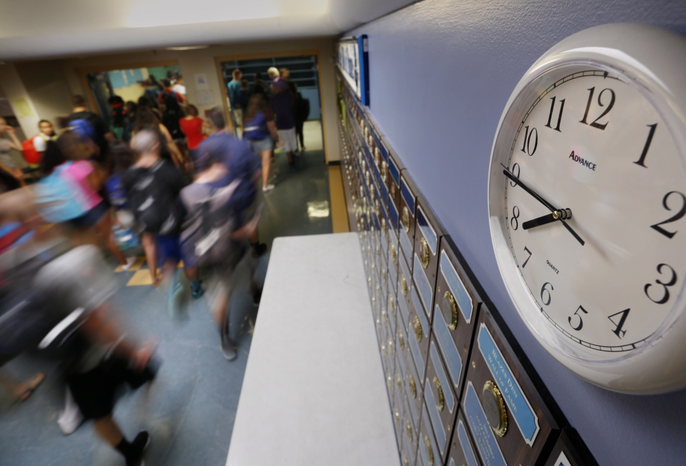 Westbrook High School, above, pushed back its start time from 7:30 a.m. to 7:50 a.m. several years ago, but many other Maine secondary schools start at 7:30 a.m. or earlier, despite decades of research indicating the academic and health benefits of a later start to the school day.