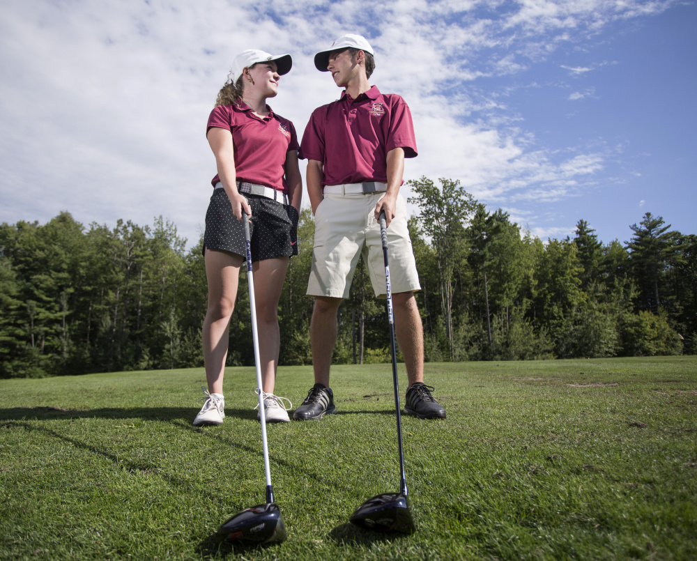 Jordan and Jacob Laplume, who are twins, will be key players for the Thornton Academy golf team. Jacob Laplume, older by two minutes, says the match against each other is sometimes more fun than against opponents.