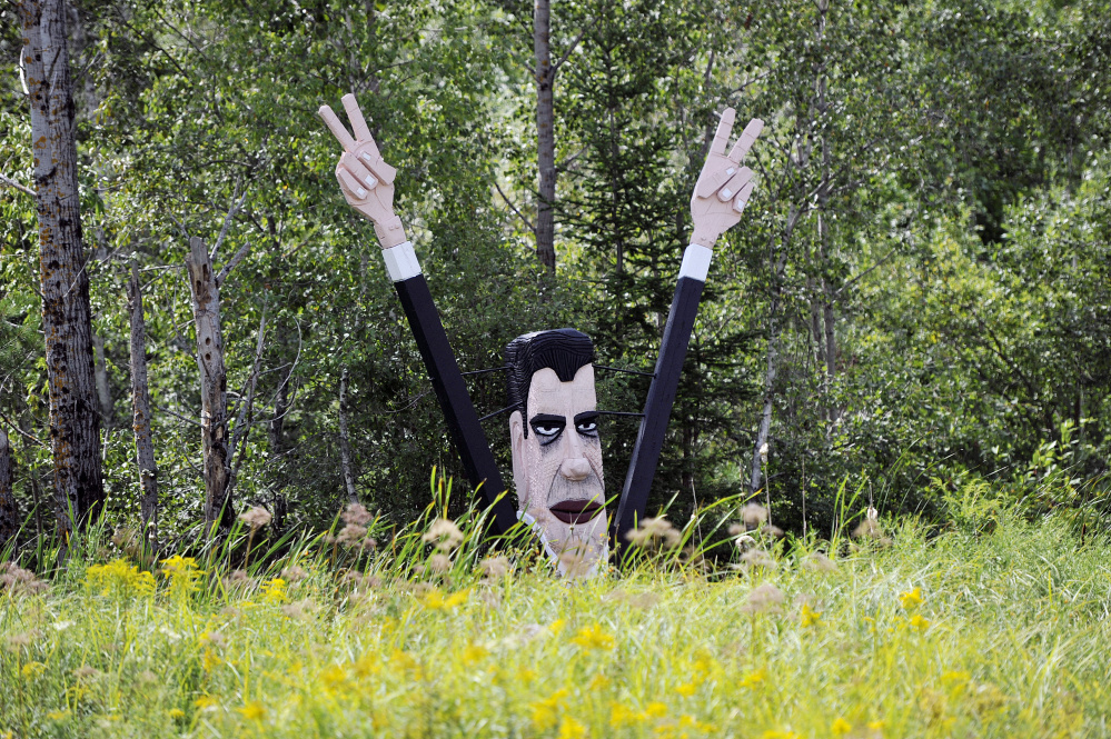 A Bernard Langlais depiction of Richard Nixon is part of the sculpture preserve in Cushing.