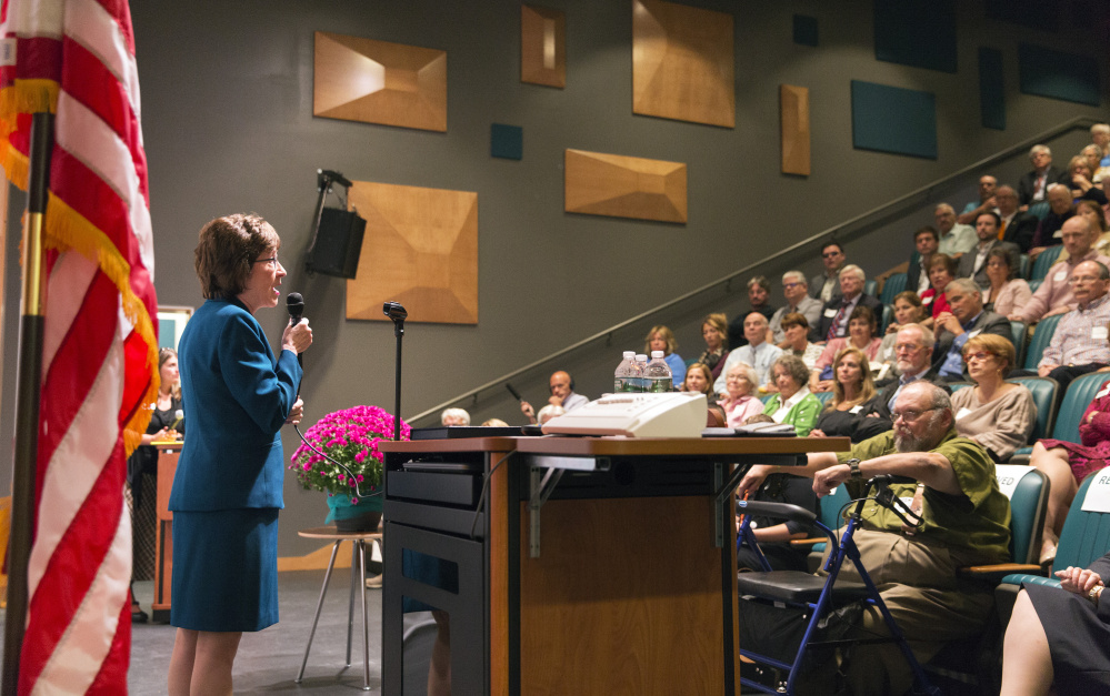 U.S. Sen. Susan Collins speaks during an event at York County Community College on Friday. Collins said she would decide within a month whether to run for governor, affirmed her belief that global climate change is proven, and reiterated that something must be done to curb the heroin crisis.