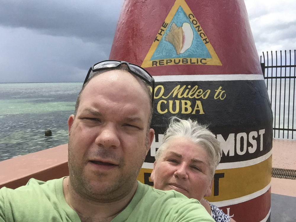 Brian Coddens and Deena Eskew, known as Hoss and Mary, are staying put in Key West rather than risk a stormy trip on the Overseas Highway. 'I don't want to use the word 'stuck,' but there's no choice for us now,' Coddens said. They operate a food truck in Key West called Hoss and Mary's Tasty Grub.
