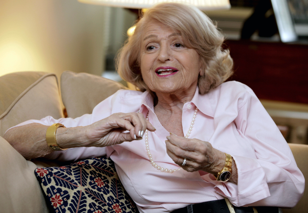 Edith Windsor, shown in 2012, brought a Supreme Court case that struck down parts of a federal law that banned same-sex marriage. She died Tuesday in New York.