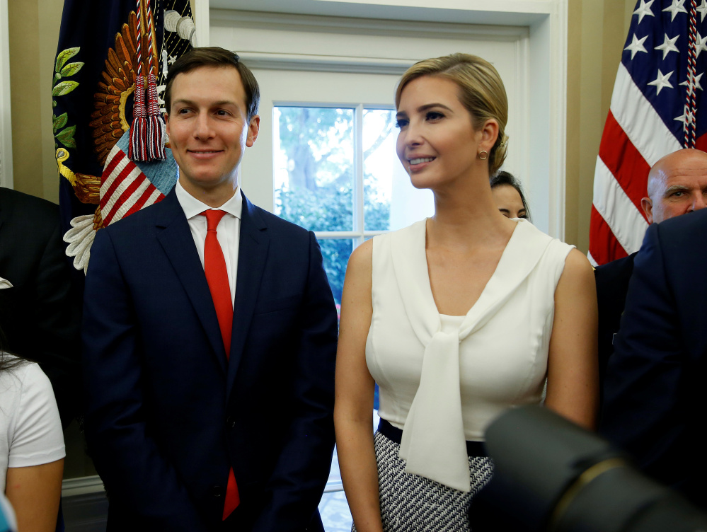 Jared Kushner and Ivanka Trump appear together at the White House last summer. Kushner has sold off his stake in a troubled office tower in New York City owned by his family, but his position in the Trump administration is making it difficult for Kushner Cos. to obtain the financing needed to keep it afloat. Reuters/Joshua Roberts