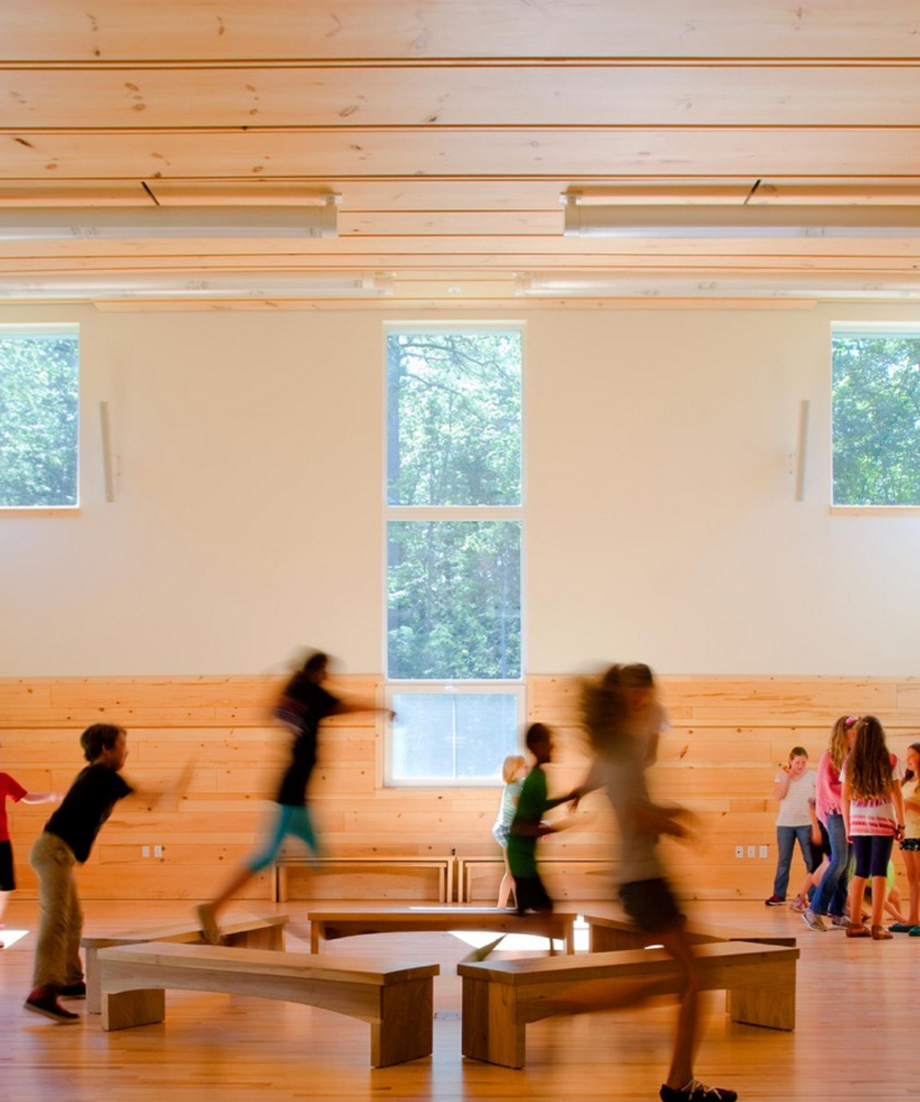 Buildings like the new Friends School of Portland that use local wood products can protect small woodlots from development.
