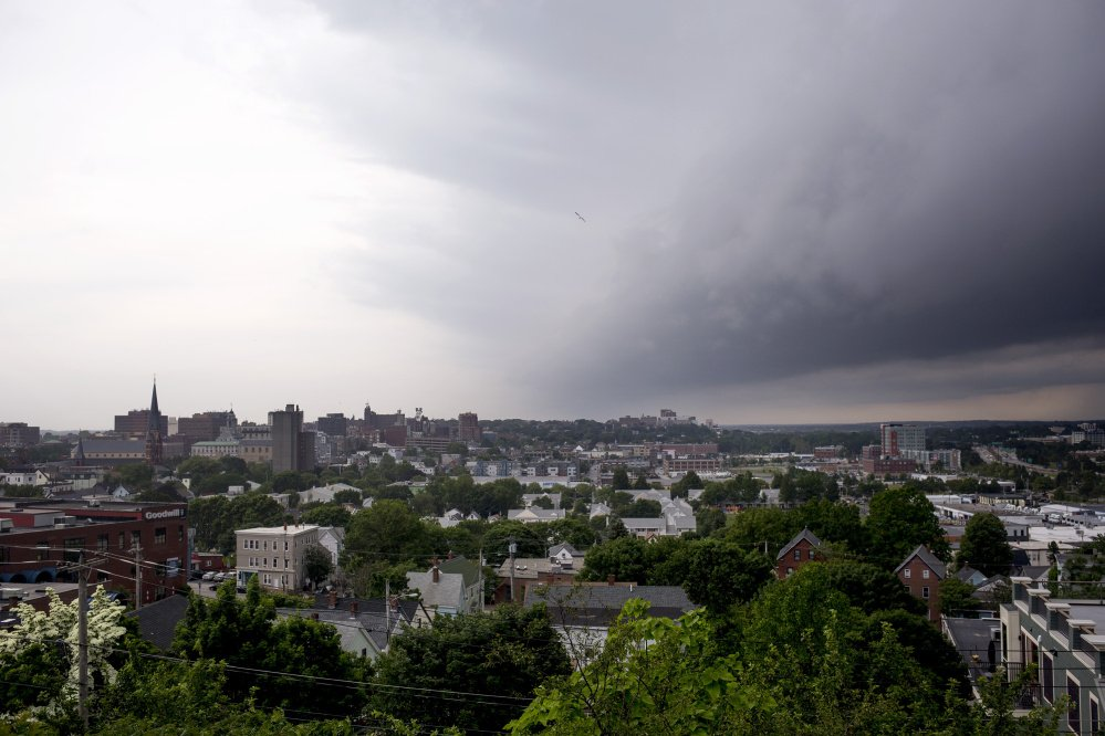 PORTLAND, ME - JUNE 19: Storm clouds roll in over Portland seen from Fort Sumner park. (Staff photo by Brianna Soukup/Staff Photographer)
