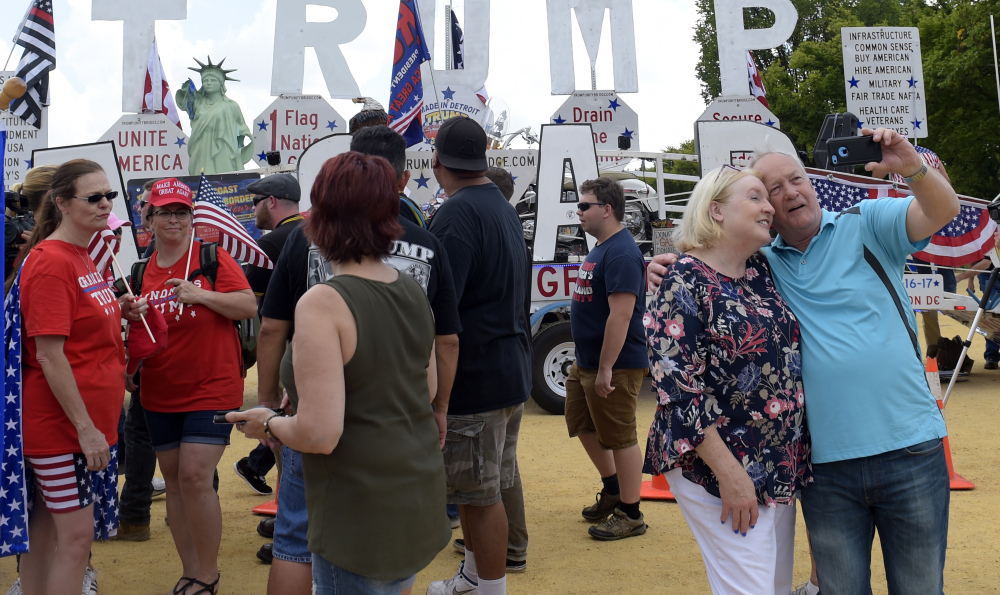 Supporters of President Trump gather Saturday on the National Mall in Washington to rally for patriotism.