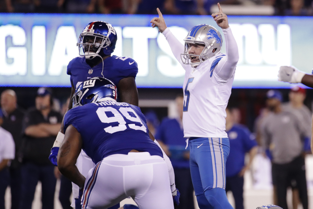 Lions kicker Matt Prater celebrates after kicking a field goal in the first half of Detroit's win over the New York Giants on Monday night in East Rutherford, N.J.