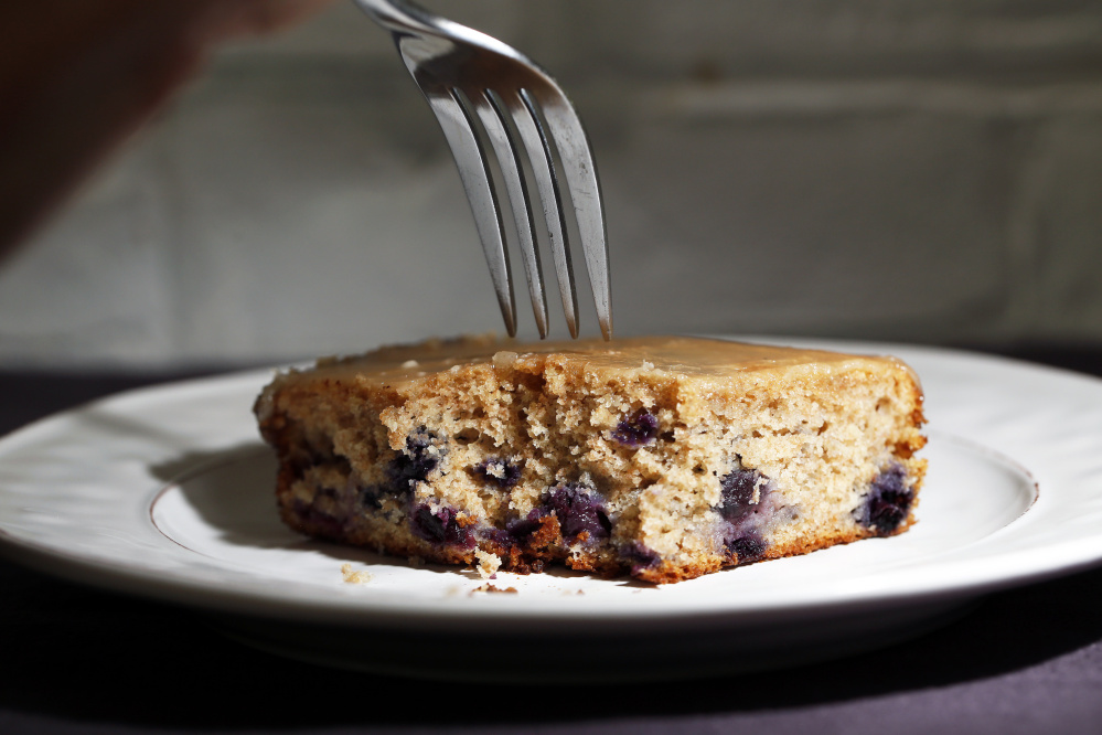 This Maple Blueberry Tea Cake calls for Maine maple syrup and a mix of low- and high-bush blueberries.