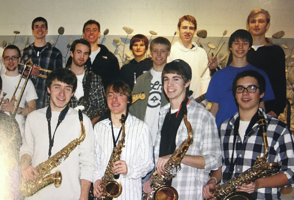 Orion Krause, far right in middle row, is pictured with other jazz band members at Camden Hills Regional High School.