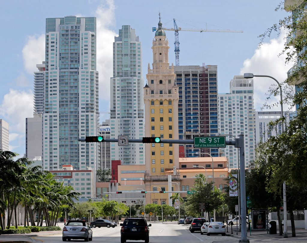 A high-rise building under construction Thursday is being built with construction cranes, which aren't designed to withstand a storm of Irma's ferocity.