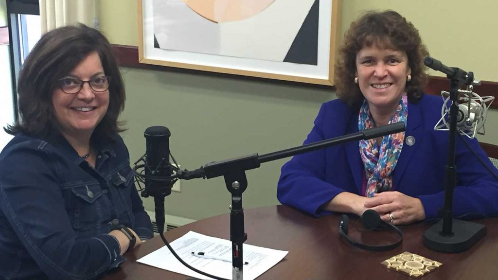 Portland Press Herald President and C.E.O. Lisa Desisto (l) and Laurie Lachance, President of Thomas College, record a podcast episode at the college in Waterville.