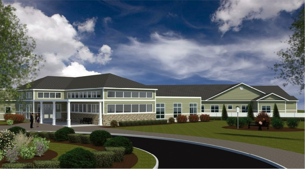 This architectural rendering shows a concept design for a 90-bed, $21 million rehabilitation and skilled nursing care center in Sanford that Southern Maine Health Care plans to build.