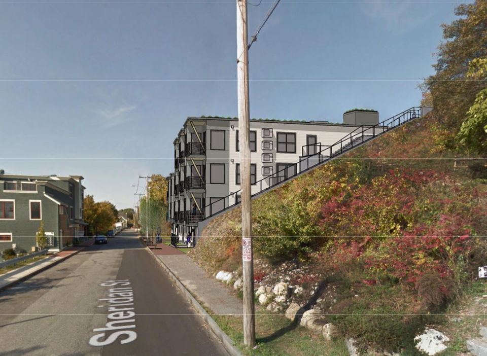 A rendering from the applicants' planning board submission shows the proposed condominium building at 155 Sheridan Street on Munjoy Hill in Portland.