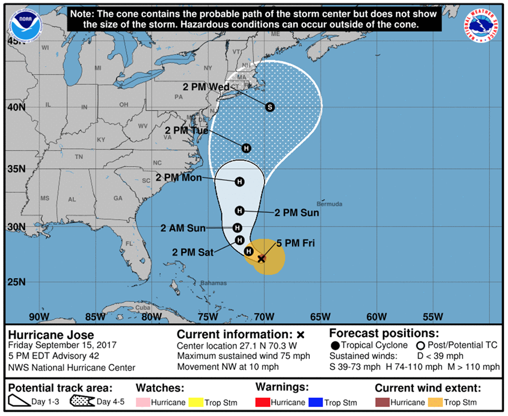 This National Weather Service map shows the projected path of Jose as of 5 p.m. Friday.