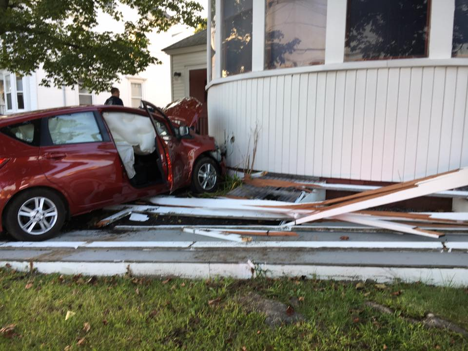 A vehicle crashed into the First Baptist Church at the intersection of Main and Stroudwater streets in Westbrook on Tuesday around 6 p.m. Three adults in the vehicle suffered minor injuries.