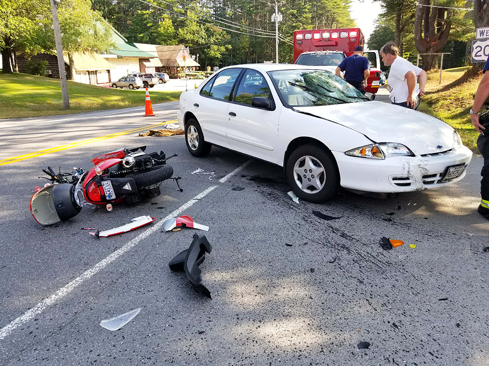 The scene of the fatal collision on Route 202 in Alfred on Monday.