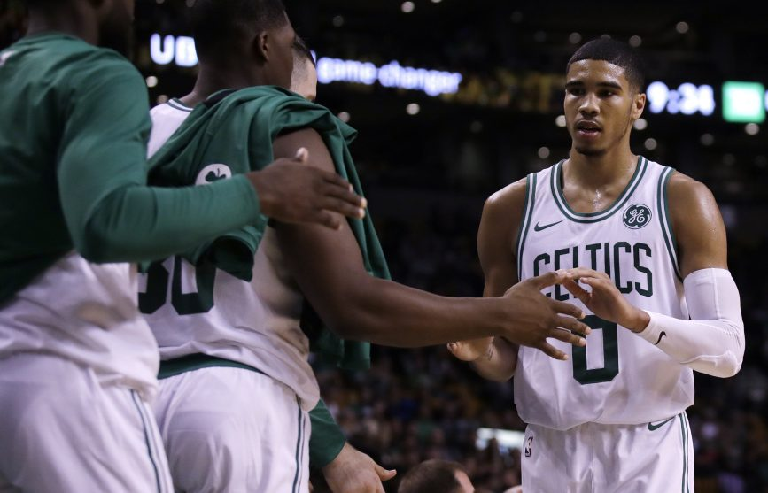 Celtics rookie forward Jayson Tatum, seen in a preseason game early this month, has started all three games so far this season.