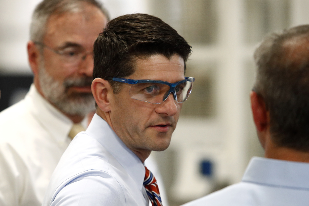 Speaker of the House Paul Ryan, R-Wis., tours the Dixon Valve & Coupling Company factory before holding a tax reform town hall with employees in Chestertown, Md., Thursday, Oct. 5, 2017. (AP Photo/Patrick Semansky)
