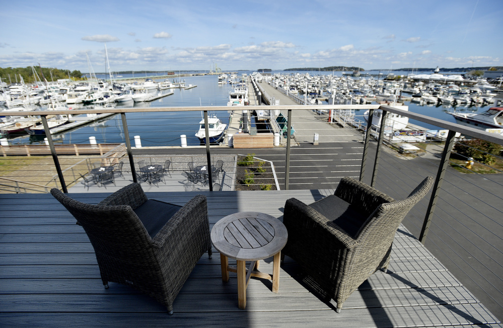 The outdoor seating at North 43 offers panoramic views of Spring Point Marina and the Fore River.