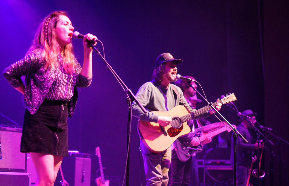 All nine members of the supergroup Broken Social Scene played the State Theatre in Portland on Thursday.