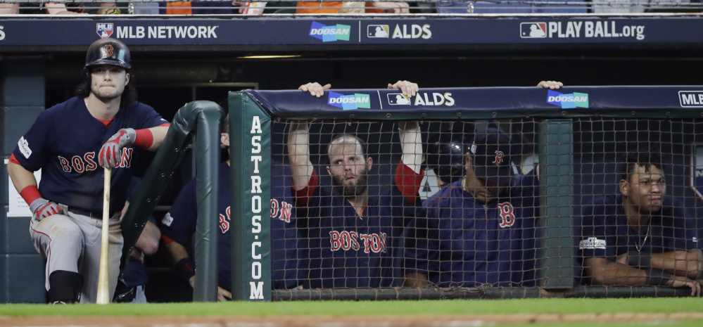 They shouldn't be on the bench, glumly watching. They should be on the bases, moving along, crossing the plate. It hasn't happened yet in the playoffs, and that must change for the Boston Red Sox to have a chance to overcome the Houston Astros. Game 3 is Sunday.