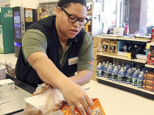 Alex Matos, 22, of South Portland works at the Shaw's supermarket on Payne Road in Scarborough. (Photo by Melanie Sochan, The Forecaster)