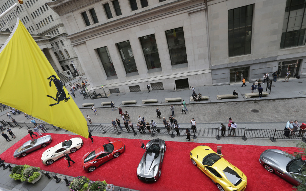 Ferraris are lined up in front of the New York Stock Exchange on Monday, as Ferrari is celebrating its 70th anniversary. Stock trading was light because of the Columbus Day holiday in the U.S. Bond trading was closed.