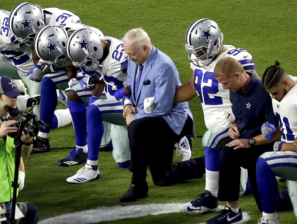 Two weeks after he joined his players kneeling before the national anthem for a game against the Arizona Cardinals, Dallas Cowboys owner Jerry Jones said that players who disrespect the flag would not play for his team.