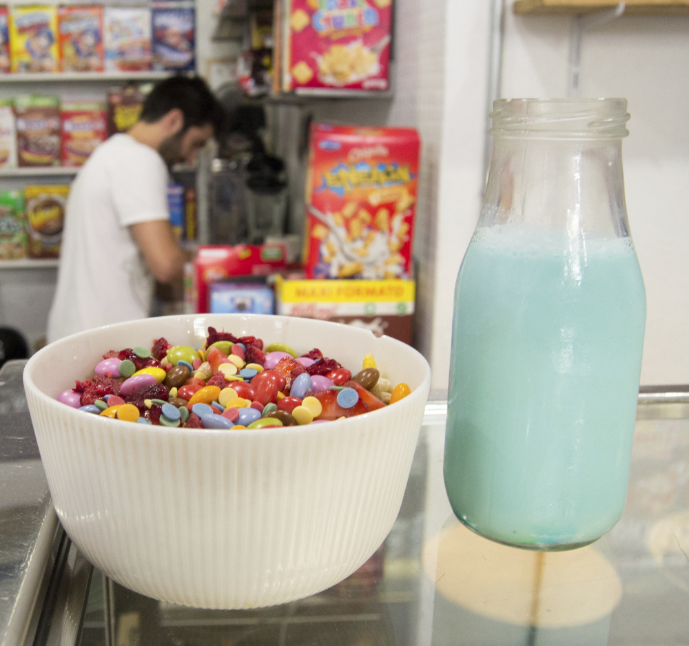 The El Flako cereal cafe in Barcelona, Spain, offers fruity, chocolatey, honey or healthy combinations of cereal and toppings, with a serving of nostalgia.
