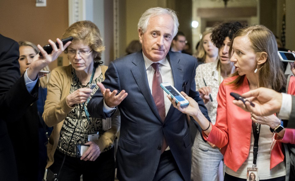 Fellow Republican senators are treading carefully, trying to avoid taking sides in the spat between and Sen. Bob Corker, R-Tenn., above, and President Trump.