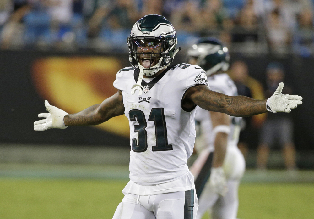 Philadelphia's Jalen Mills reacts after the Eagles stopped the Carolina Panthers on fourth down late in the second half in Charlotte, N.C., on Thursday. The Eagles held on for a 28-23 win.