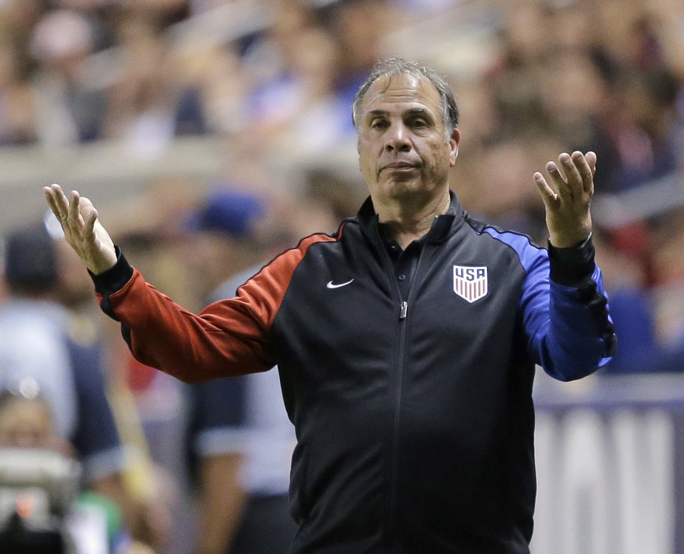 U.S. coach Bruce Arena reacts on the sideline during the second half of the team's international friendly soccer match against Venezuela in June 2017.