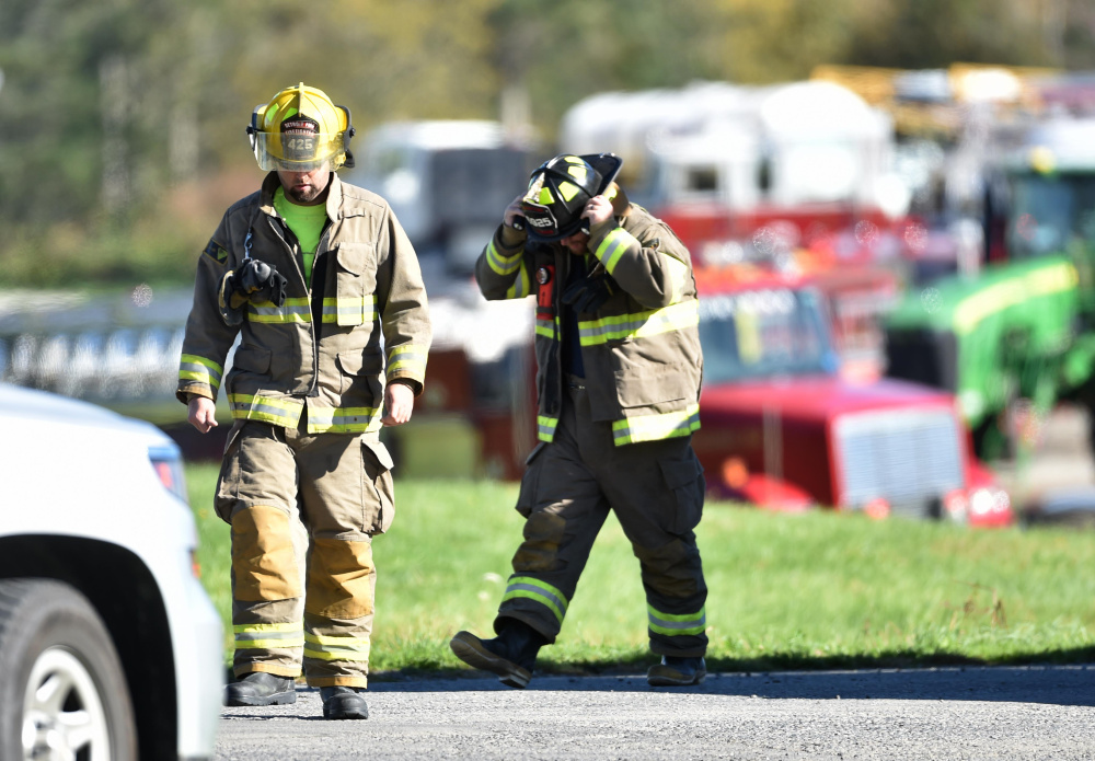 Firefighters from Pittsfield, Corinna, Newport, Detroit, Skowhegan and Plymouth, officials from the Maine Department of Environmental Protection and Somerset County Sheriff's deputies and Maine State Police converged Wednesday on Northeast Agricultural Sales on Route 100 in Detroit after a report of a sulfur explosion.