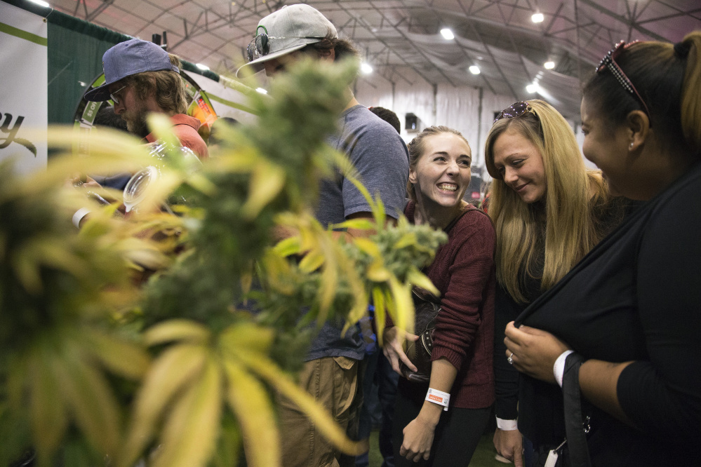 Aubrey Graves, center, shares a laugh with friends Audrey Riddle and Adrian Allen while waiting in line to smell 10 different strains of marijuana at the Grass Monkey kiosk within the NECANN conference at Portland Sports Complex. With about 2,000 attendees,120 exhibitors and more than 100 speakers at Maine's largest cannabis convention. (Staff photo by Ben McCanna/Staff Photographer)