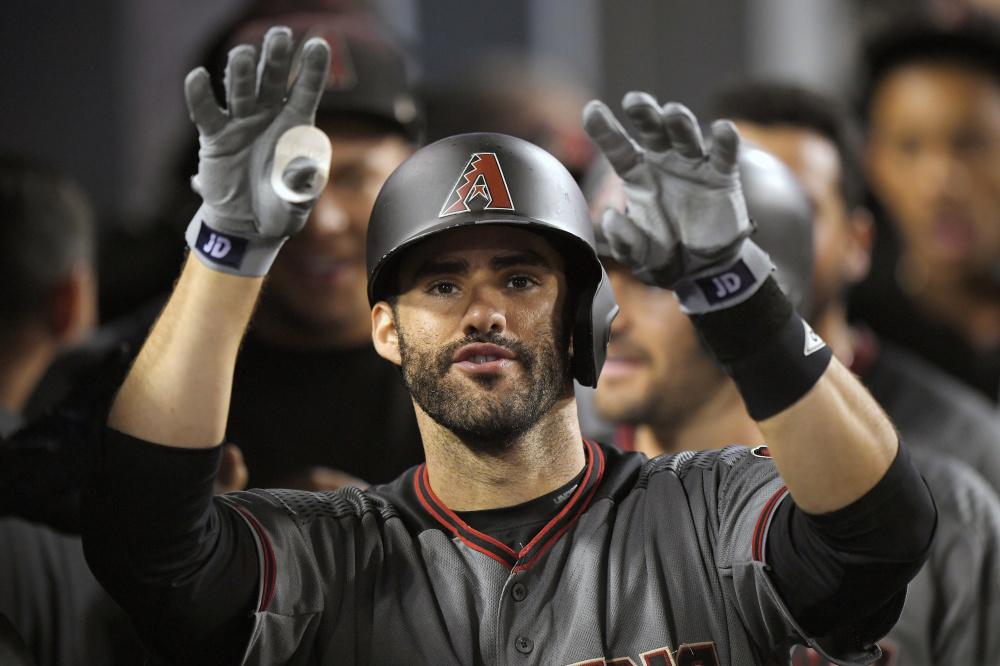 J.D. Martinez hit 45 homers in 119 games with Detroit and Arizona – including four in one game against the Dodgers in September. Could he be a target for the Red Sox?