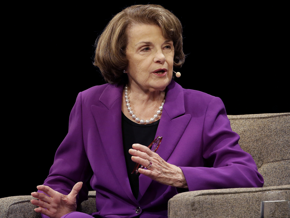 Senator Dianne Feinstein, D-Calif., speaks at the Commonwealth Club in San Francisco. The head of California's state senate delegation, Kevin de Leon, annouced he is running for Feinstein's seat.