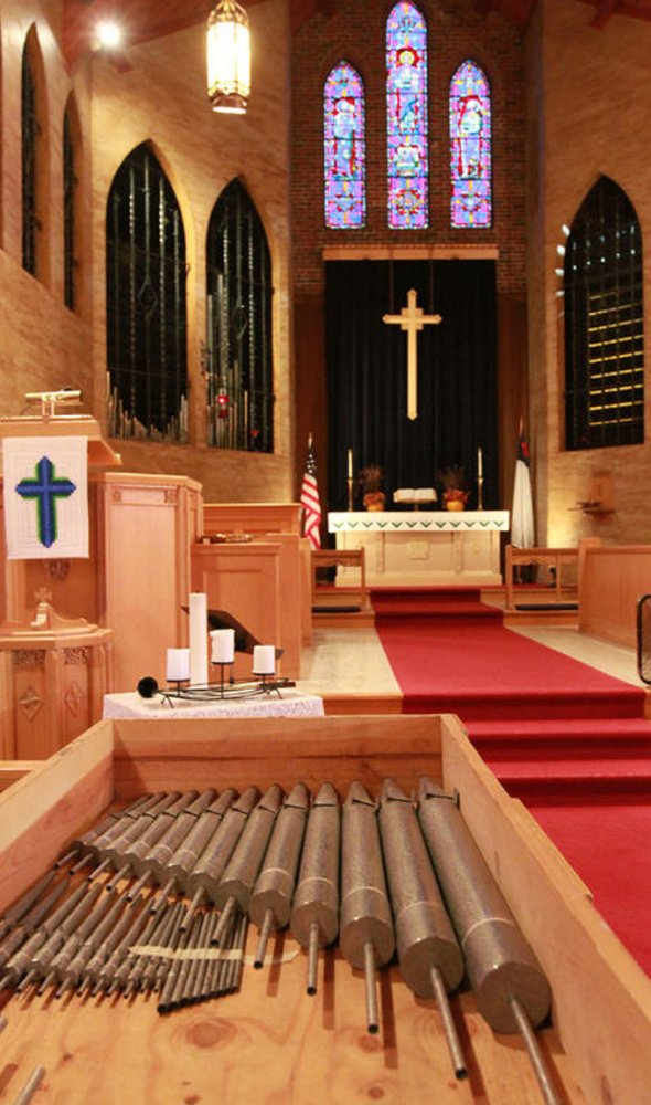 Repaired and cleaned organ pipes lay in boxes at Blue Point Congregational Church in Scarborough before being reinstalled. The church raised $36,000 to refurbish the 61-year-old Austin organ and its 1,550 pipes.