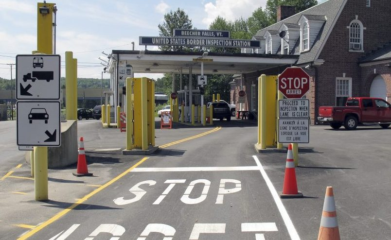 The wide latitude given to U.S. Border Patrol within 100 miles of any border boundary – like this crossing station between Beecher Falls, Vt., and Quebec – can be a way around protections from illegal stops and searches.