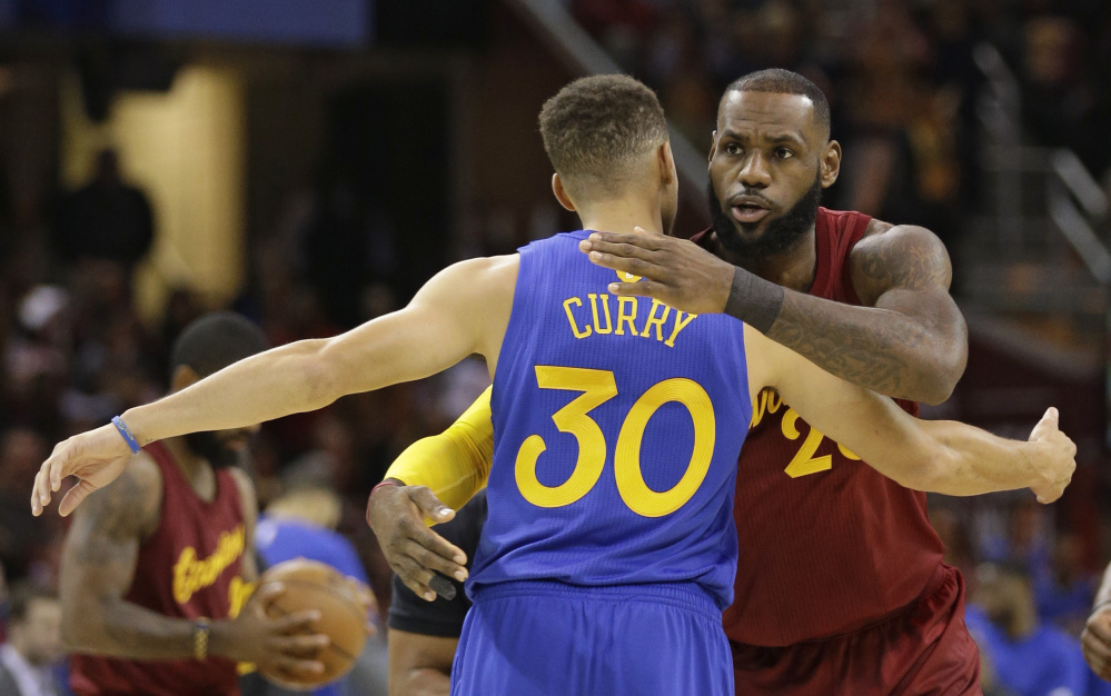 Cleveland's LeBron James, right, and Golden State's Stephen Curry could be meeting in the NBA finals for the fourth straight year next spring. The Warriors and Cavs are just two of a few teams with a legitimate shot at the title.