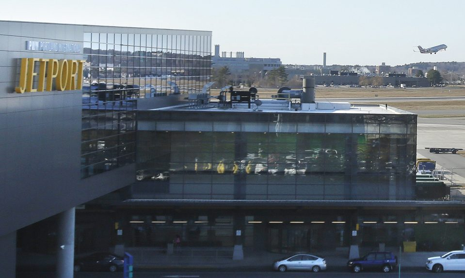 A plane takes off from the Portland International Jetport in 2015. A member of the airport's Noise Advisory Committee says noise complaints about the airport appear to have increased.