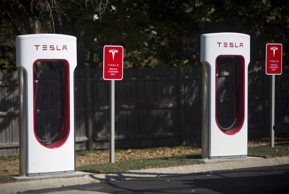These are two of the new Tesla Superchargers in the L.L. Bean parking lot off Justin's Way in Freeport. The electric-vehicle charging station will include eight Tesla Superchargers and eight more plugs for all other makes. Mac McKeever, a spokesman for L.L. Bean, acknowledged the public relations value, but said the charging station is