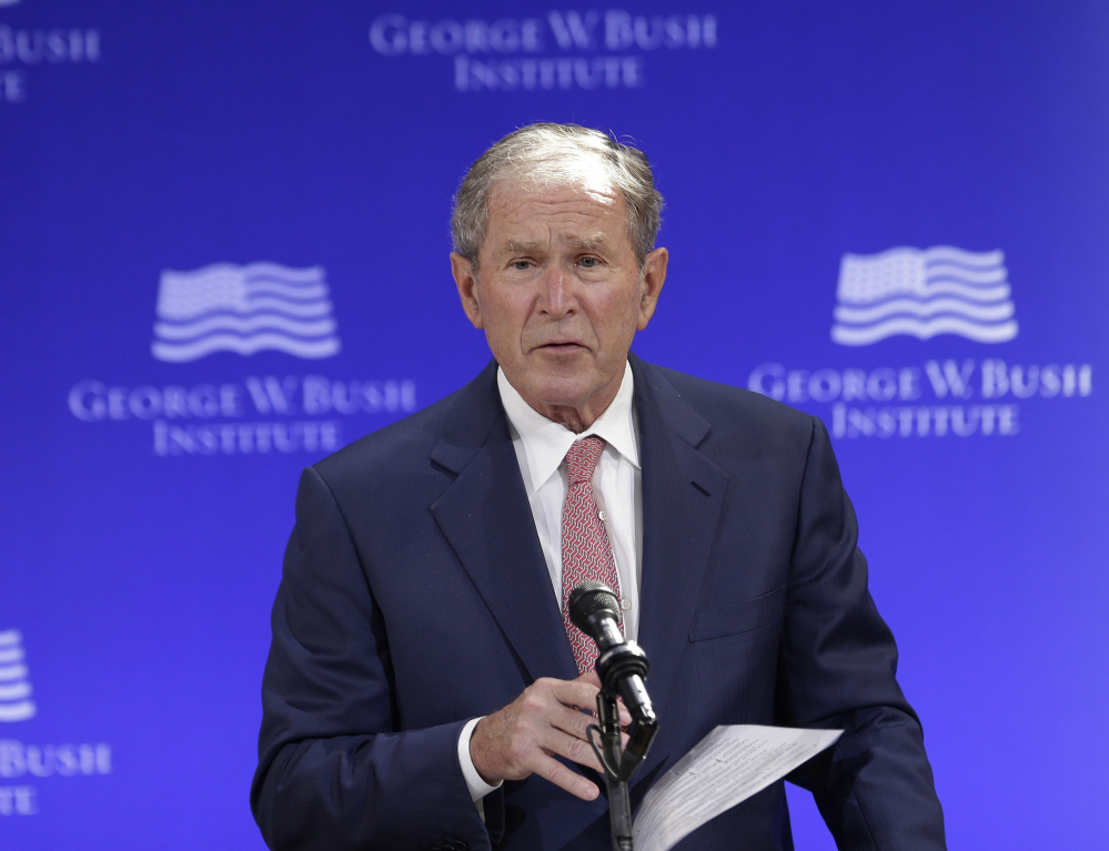 Former President George W. Bush speaks Thursday at a forum sponsored by the George W. Bush Institute in New York. He said,