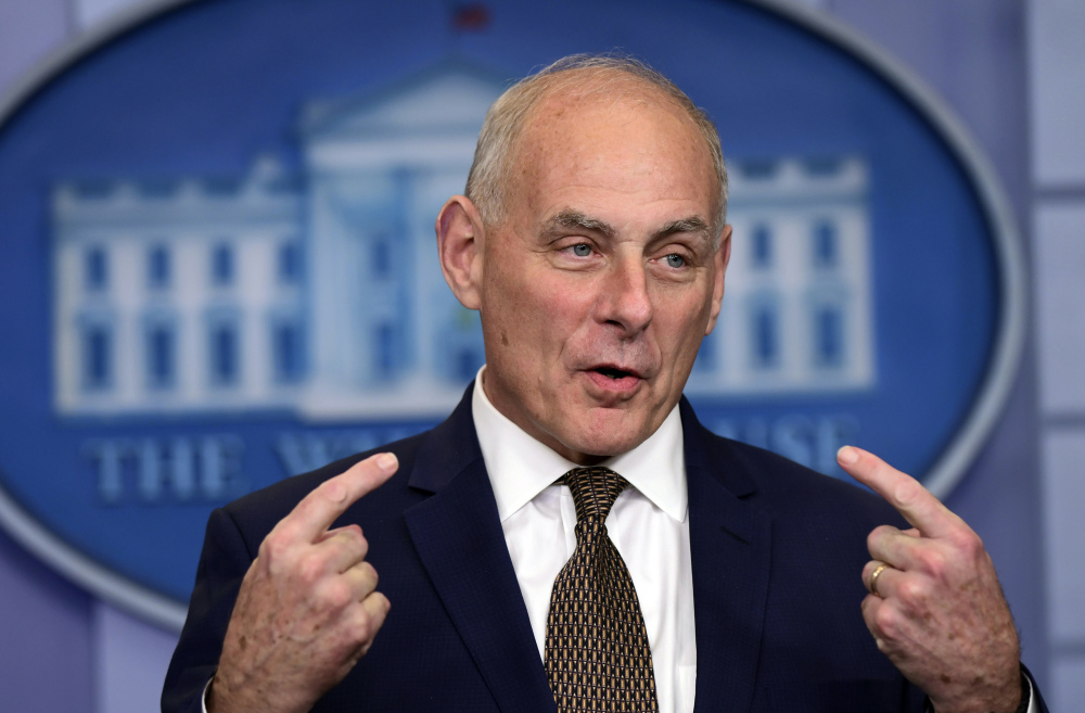White House Chief of Staff John Kelly says President Trump is brave to call grieving military families. Associated Press/ Susan Walsh
