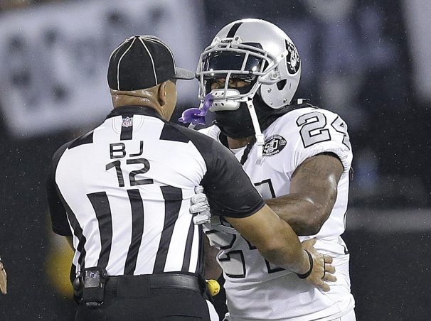 Raiders running back Marshawn Lynch makes contact with back judge Greg Steed during Thursday night's game against the Chiefs. Lynch came off the bench to get involved in an altercation and was ejected from the game, and the NFL suspended him for next week's game against Buffalo.